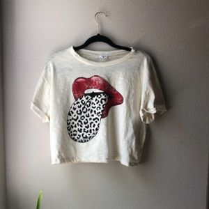 Womens VICI dolls crop top (Cheetah and red lips)